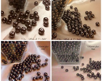 Perles  nacrées MARRON CHOCOLAT  en verre  4mm, 6mm, 8mm et 10mm
