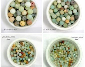 AMAZONITE GIVREES beads natural genuine 4mm, 6mm, 8mm, 10mm