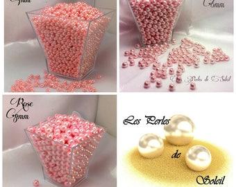 Perles  nacrées ROSE  en verre    4mm, 6mm, 8mm