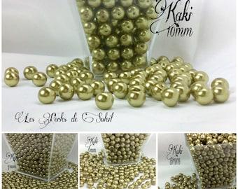 Perles  nacrées KAKI en verre  4mm, 6mm, 8mm et 10mm