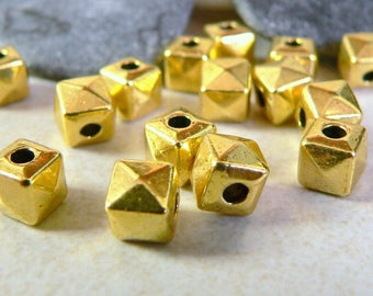 10 7.5x7.5mm gold cube metal beads