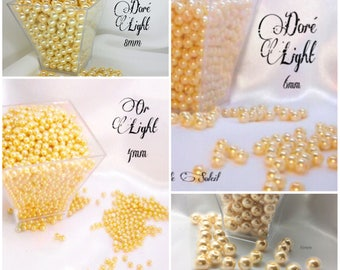 Perles  nacrées DORÉ LIGHT en verre  4mm, 6mm, 8mm et 10mm