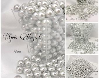 Perles  nacrées GRIS ARGENTÉ en verre  4mm, 6mm, 8mm et 10mm