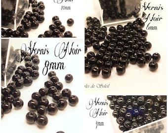 Perles  nacrées LAQUEES NOIRES en verre  4mm, 6mm, 8mm et 10mm