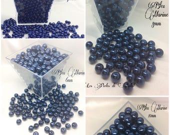 Perles  nacrées BLEU MARINE en verre  4mm, 6mm, 8mm et 10mm