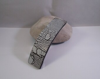 hair clip in black and white polymer clay