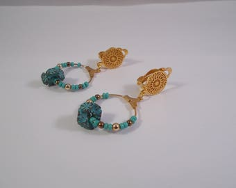 clips in gold and turquoise earrings