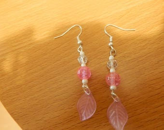 Available in blue, pink leaf earring