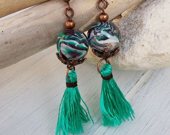 polymer clay earrings with pompom