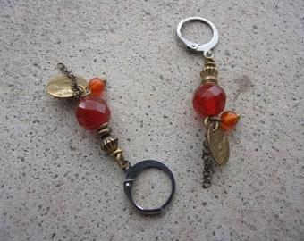 Clip earrings carnelian 8mm stainless steel