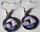 Earrings quot Dolphin quot medium silver glass hooks cabochon 925 sterling silver