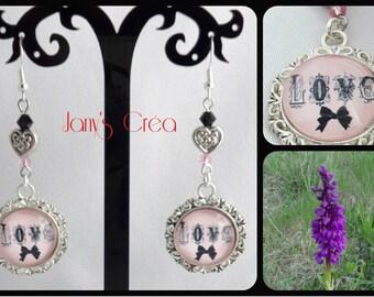 """LOVE"" /cabochon glass/metal/swarovski crystal heart earrings"