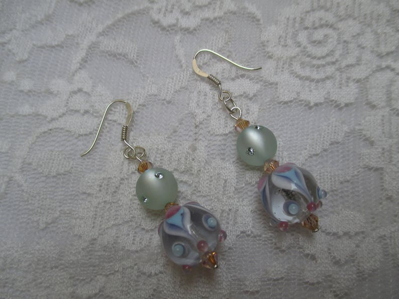 Lampwork dangle earrings with Pearl and 925 sterling silver hooks