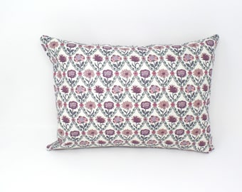 Decorative Throw Pillow Cover Made with Liberty of London Fabric, Kew Trellis Rose, Zipper Closure, 12x16, 16x16, 18x18, 20x20