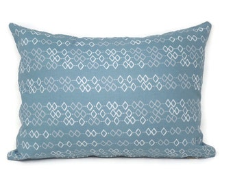 Decorative Pillow Cover Made with Reverie Sashiko Celadon Fabric by Shell Rummel, Zippered, 12x16, 16x16, 18x18, 20x20