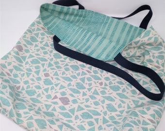 Blue Fish Extra Large Reversible Tote Bag for the Beach, Shopping, Books, Projects, Office, Weekend