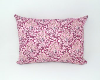 Decorative Throw Pillow Cover Made with Liberty of London Fabric, Woodhaze Pink, Zipper Closure, 12x16, 16x16, 18x18, 20x20