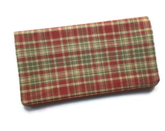 """Checkbook Cover 6.5""""x3.5"""", Coupons Wallet, Cash Holder in Red and Green Plaid Fabric, For Him or Her"""