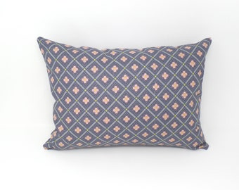 Decorative Throw Pillow Cover Made with Liberty of London Fabric, Manor Tile Pink and Gray, Zipper Closure, 12x16, 16x16, 18x18, 20x20