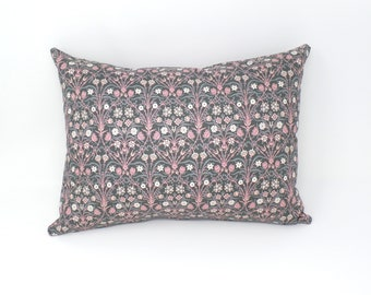 Decorative Throw Pillow Cover Made with Liberty of London Fabric, Bankart Fresco Pink and Gray, Zipper Closure, 12x16, 16x16, 18x18, 20x20