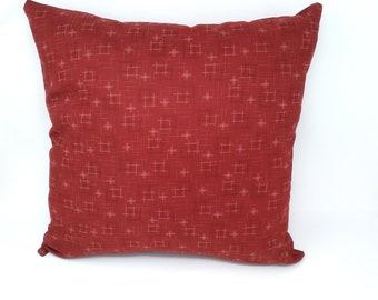Japanese Kasuri Red Strokes Decorative Throw Pillow Cover, Zippered, 12x16, 16x16, 18x18, 20x20