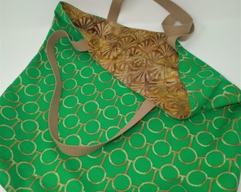 Green and Golden Extra Large Reversible Tote Bag for the Beach, Shopping, Books, Projects, Office, Weekend