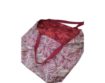 Deep Red Batik Leaves Extra Large Reversible Tote Bag for the Beach, Shopping, Books, Projects, Office, Weekend
