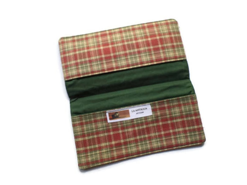 Coupons Wallet Checkbook Cover 6.5x3.5 Cash Holder in Red and Green Plaid Fabric For Him or Her