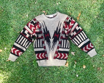 Sweater Dress Tunic Black Red Vintage 80s 90s Geometric Print Womens Vintage Oversized Cozy Fall