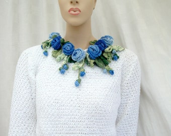 blue sweater cotton sweater with hand made blue roses roses