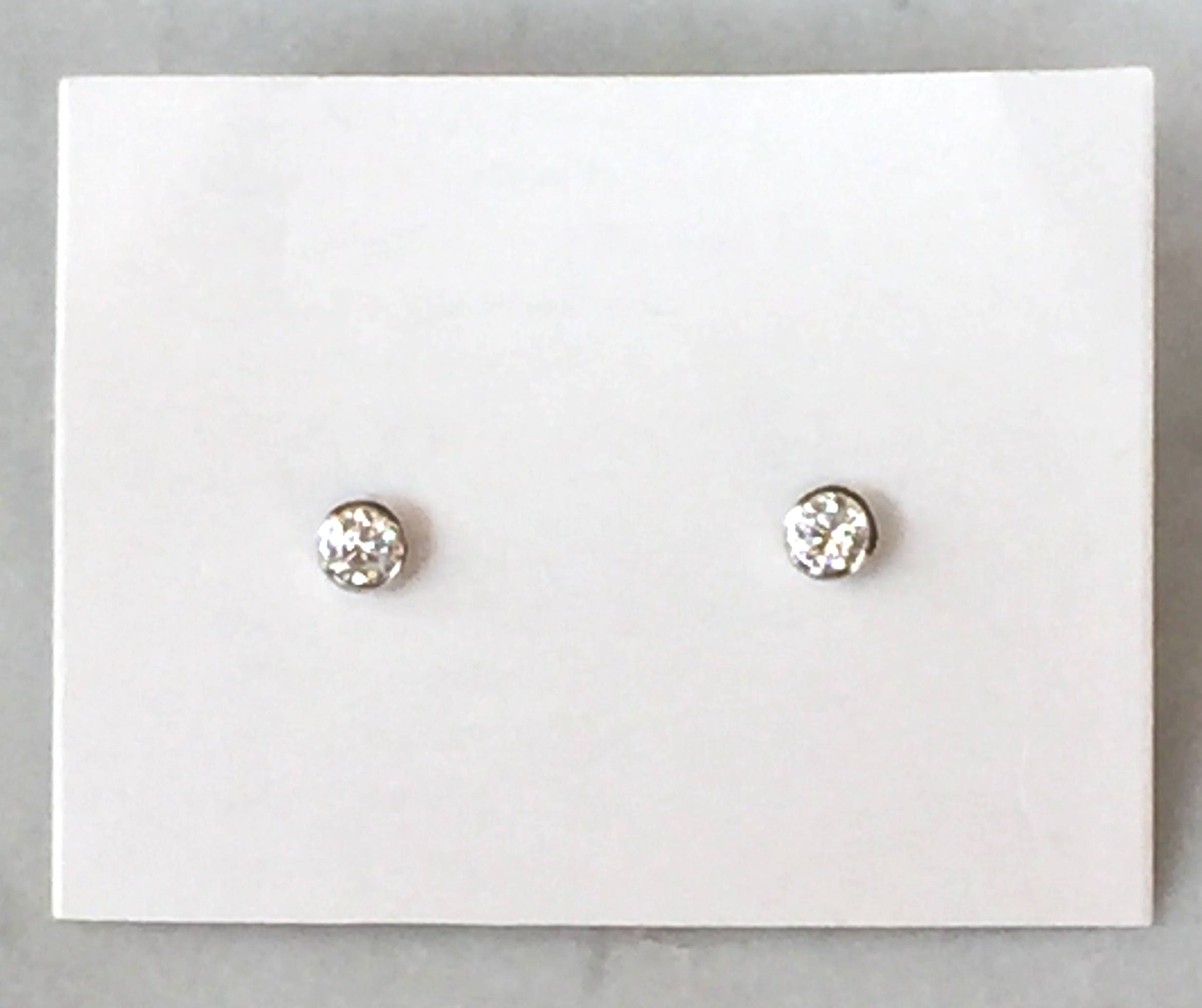 Diamond Stud Earrings Round Solitaire Earrings Bezel Set