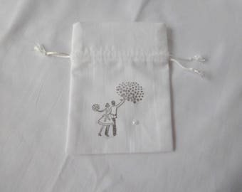 for sugared almonds in white cotton gift bag