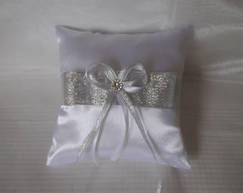 Pillow wedding ring pillow white satin and silver