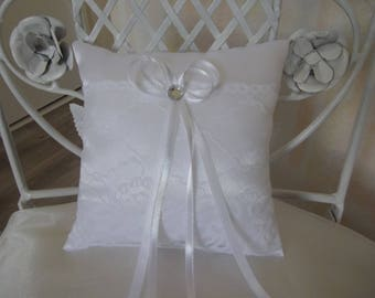wedding ring pillow white satin and lace pillow