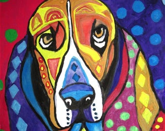 Dog .. Sad But Colorful ~ Original Abstract Watercolor That Comes With COA)