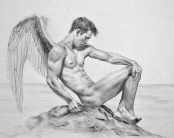 Fallen Angel ~ Beautiful Graphite Pencil Sketch, Signed!