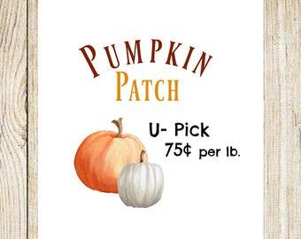Watercolor Pumpkin Printable, Digital Print, Fall Printable, Watercolor Pumpkin, Wall Decor, Fall Harvest, Pumpkin Decor