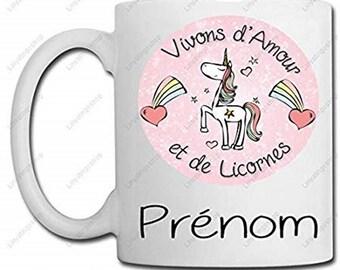 Mug live and love unicorns + your name - gift idea