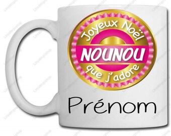 Merry Christmas mug nanny love + name - custom