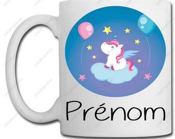 Unicorn balloon mug - Personalization with name - gift idea
