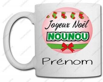Merry Christmas nanny + name - custom mug