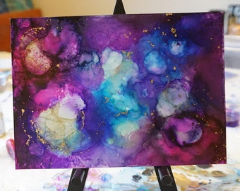 """Alcohol Ink Art, Cosmic Art on Yupo - """"Into the Galaxy"""""""