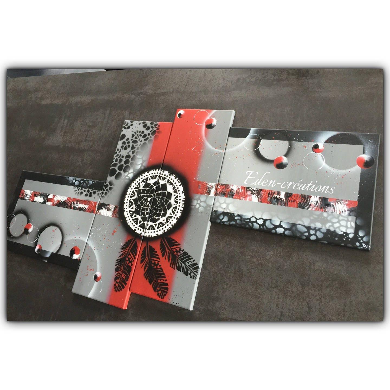tableau attrape r ves tableau contemporain rouge et noir. Black Bedroom Furniture Sets. Home Design Ideas
