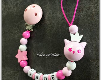 Pacifier beads pink floral wood OWL