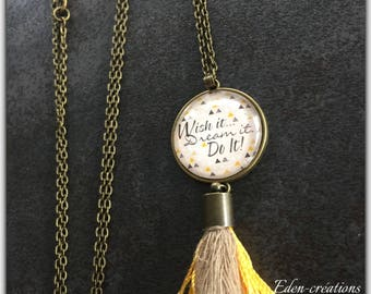 Necklace tassel and cabochon glass, wish it dream it, di it, pastel necklace, long tassel necklace