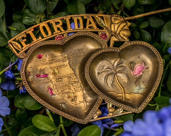 Vintage Brass Florida Heart-Shaped Souvenir Trinket Tray / Catchall / Cupid / Palm Trees / Flamingos / Jewelry / Sunshine State / Pin Dish