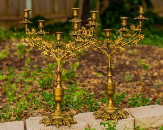 Set of Vintage Ornate Brass Floral 5 Arm Candelabras / Gothic / Candlestick Holder / Candelabrum / Hollywood Regency / Candles / Boudoir