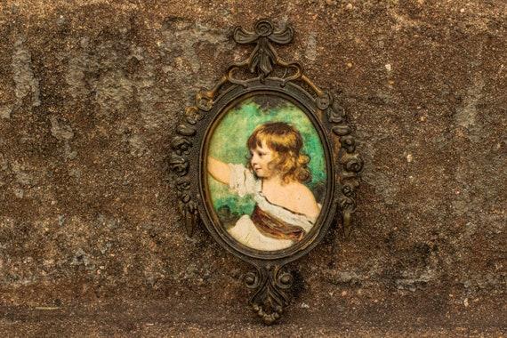 """Joshua Reynolds """"Master Hare"""" Print in Italian Victorian Scroll Brass Frame / Roses / Infant / Religious / Angel / Boudoir / Filigree"""