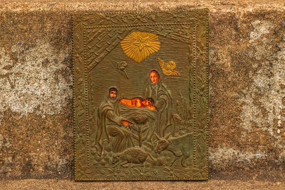 Antique Italian Bronze and Brass Riza or Oklad Relief Nativity Scene Composite on Wooden Plaque / Jesus Christ / Christian / Catholic /