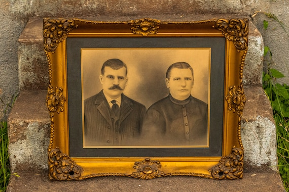 Early 1900's Edwardian Pencil and Charcoal Portrait of a Couple in Gilded Wood Frame / Mustache / Dandy / Memorium / Victorian / Gold